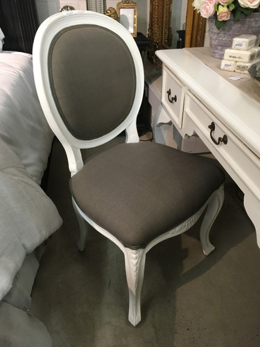 French Cabriole Dining Chair - White light distress, Fabric 59