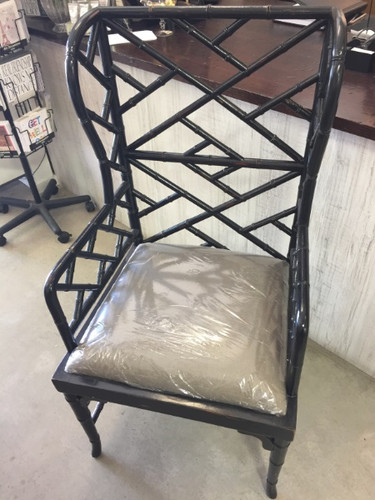 Martinique Bamboo Armchair - Black Shiny Heavy Distress, Taupe Linen