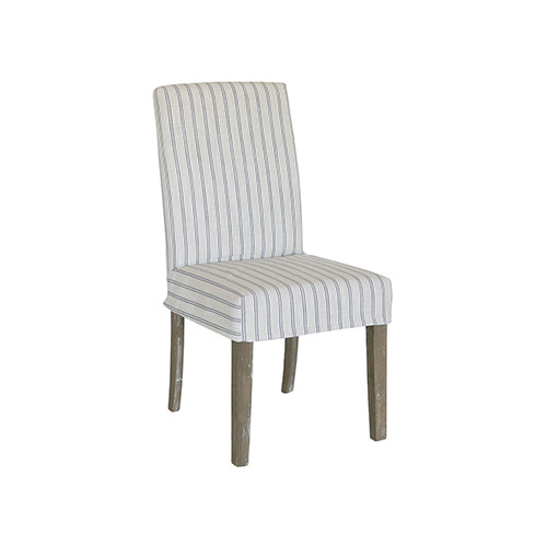 Dining Chair Cover Short - Blue/Cream Stripe