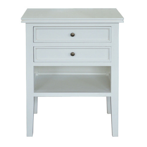 Alton 2 Drawer Bedside - White