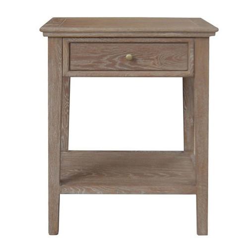 Alton 1 Drawer Bedside - Brown Oak Drifted