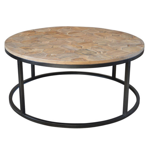 Wisconsin Round Coffee Table - Parquet Top
