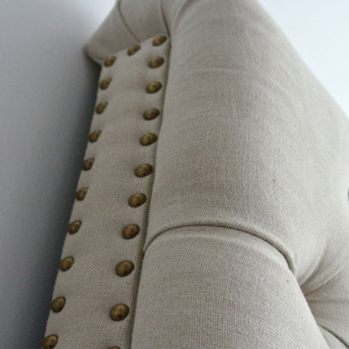 Marquis Upholstered Queen Headboard - Bronze Studs