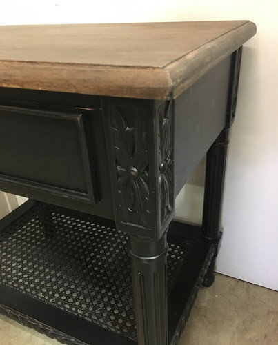 Polo Side Table Black with Wooden Top