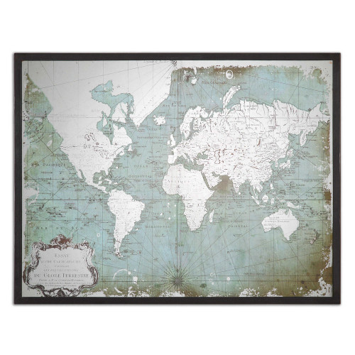 Mirrored World Map Framed Print by Uttermost