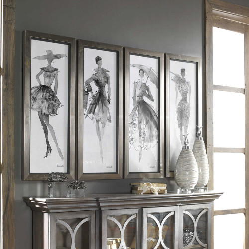 Fashion Sketchbook Framed Prints S/4 by Uttermost