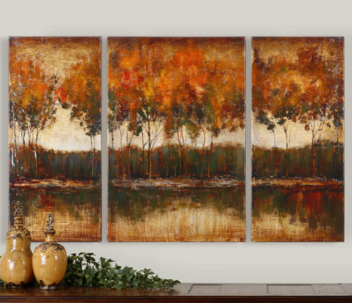Trilakes Hand Painted Canvases S/3 by Uttermost