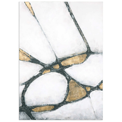 Abstract in Gold and Black Hand Painted Canvas by Uttermost