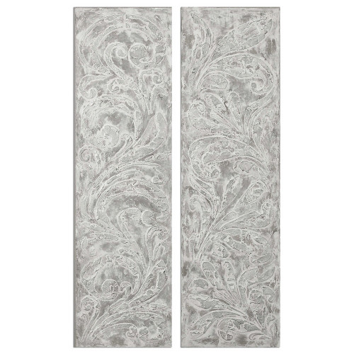 Frost On The Window Hand Painted Canvases S/2 by Uttermost