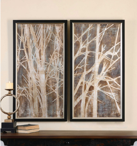 Twigs Hand Painted Canvases S/2 by Uttermost