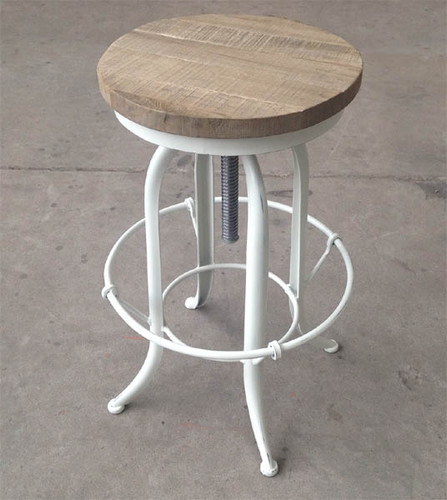 Toledo Industrial Counter Stool (White + Oak)