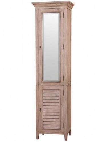 Shutter Tall Bath Cabinet w/ Mirror  - Size: 221H x 61W x 46D (cm)