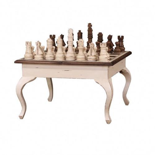 Gentleman's Chess Table w/ Chess Set - Size: 51H x 84W x 84D (cm)