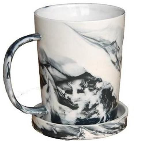 Porcelain Mug Black Marble with Lid