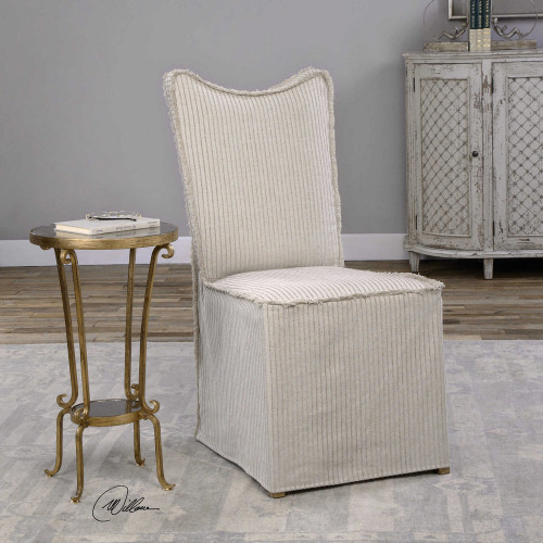 Lenore Armless Chairs Oatmeal 2 Per Box by Uttermost