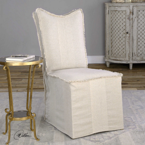 Lenore Armless Chairs Flax 2 Per Box by Uttermost