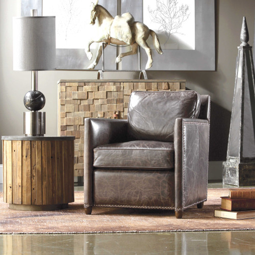 Roosevelt Leather Club Chair Smoke by Uttermost