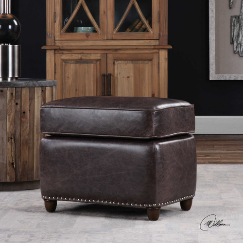 Roosevelt Leather Rectangle Ottoman Smoke by Uttermost
