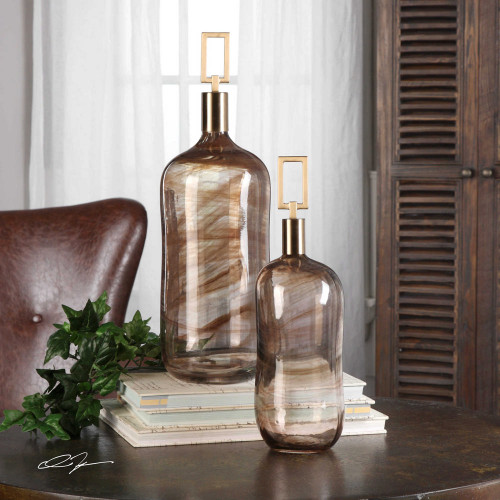 Ginevra Bottles S/2 by Uttermost