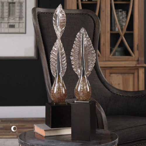 Annice Glass Leaf Sculpture S/2 by Uttermost