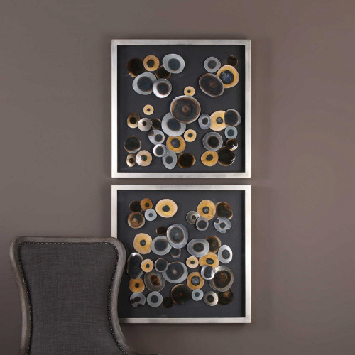 Discs Square Shadow Boxes S/2 by Uttermost