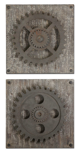 Rustic Gears Wood Wall Squares S/2 by Uttermost