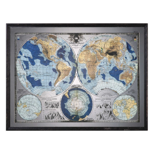 Mirrored Map Of The World Framed Print by Uttermost