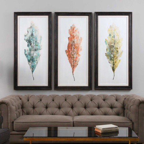 Tricolor Leaves Hand Painted Canvases S/3 by Uttermost