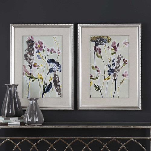 Parchment Flower Field Framed Prints S/2 by Uttermost