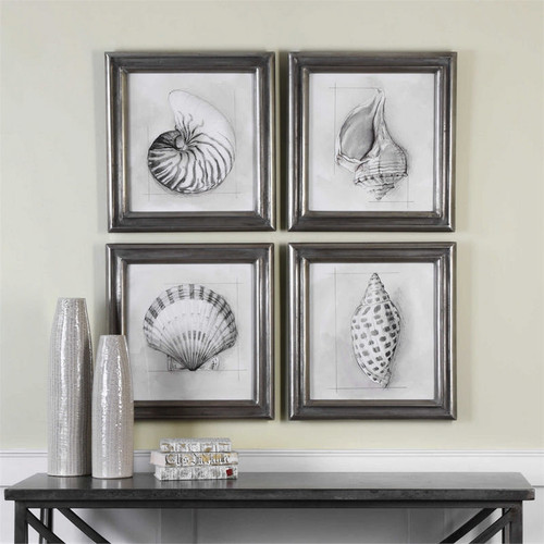 Shell Schematic Set/4 - Framed Artwork a Prints Framed by Uttermost