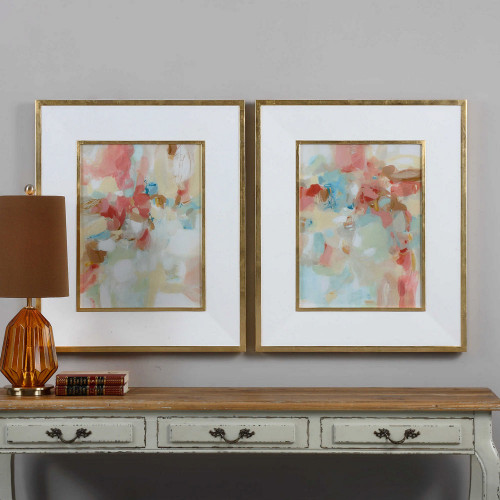 A Touch of Blush and Rosewood Fences Framed Prints S/2 by Uttermost