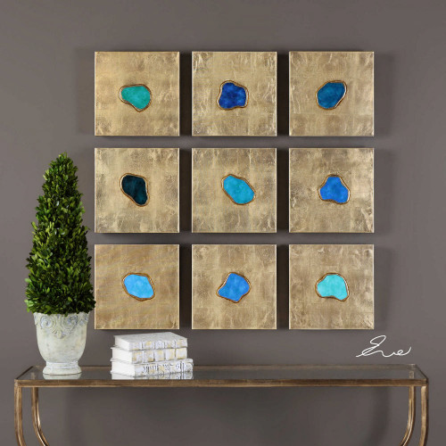 Agate Jewels Hand Painted Canvases S/9 by Uttermost