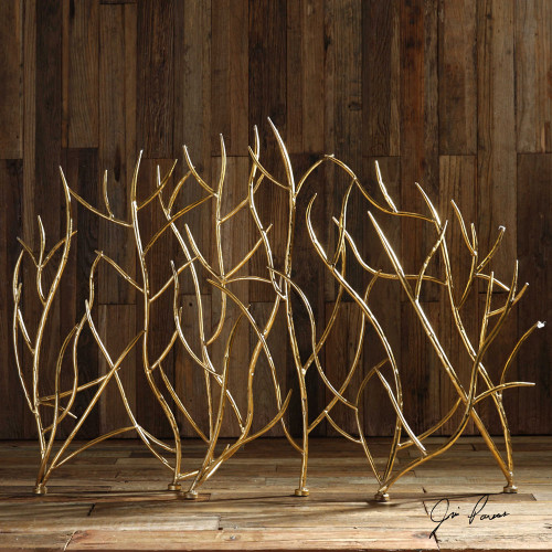 Gold Branches Decorative Fireplace Screen by Uttermost