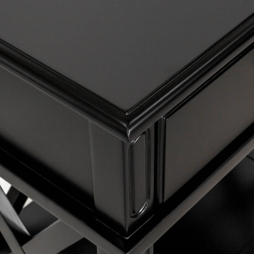 Hamptons Cross Sorrento Bedside Table 1 Drawer - Black