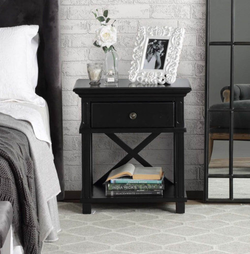 Hamptons Cross Sorrento Bedside Table 1 Drawer - Black