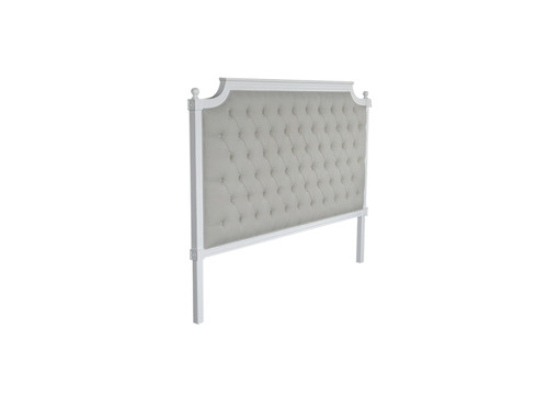 Francesca Tufted King Headboard - Natural Linen / Matt White