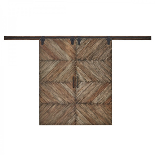 Double Sliding Door Parquet Texture - Size: 228H x 364W x 7D (cm)