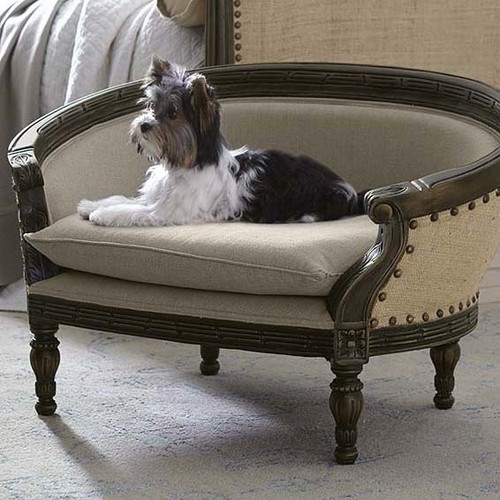St James Dog Bed  - Havana Brown with Walnut Linen - Size: 52H x 85W x 57D (cm)