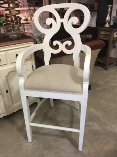 Copenhagen Bar Stool - Pearl White Light Distress - Size: 121H x 56W x 55D (cm)