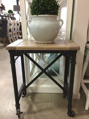 Mercantile Side Table - Vintage Birch (top), Midnight Iron - Size: 66H x 53W x 33D (cm)
