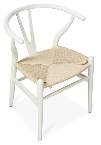 Scandinavian Woven Wishbone Beechwood Chair - Natural - Size: 75H x 54W x 55D (cm)