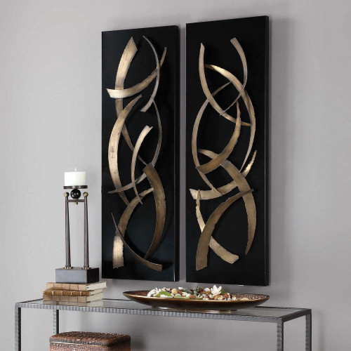 Brushstrokes Metal Wall Panels S/2