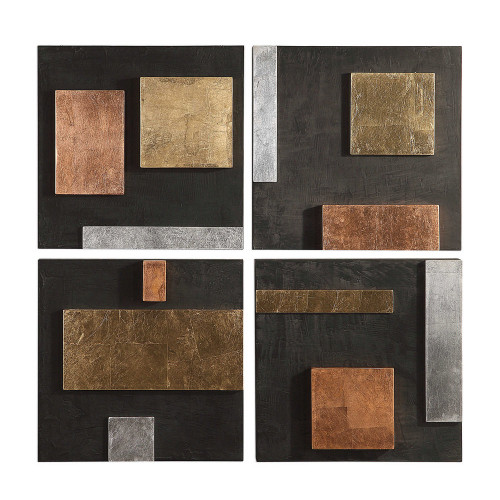 Mixed Metals Wood Wall Decor S/4 by Uttermost