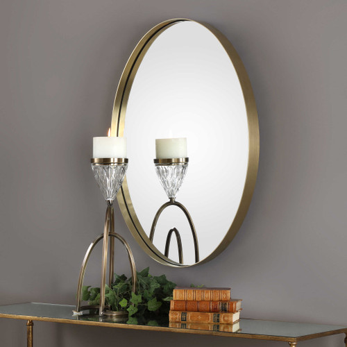 Pursley Brass Oval Mirror by Uttermost