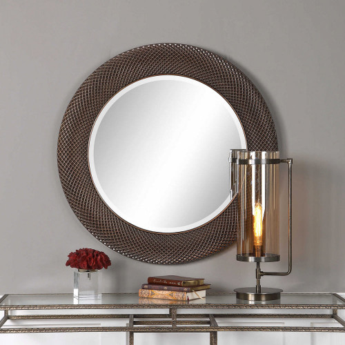 Aziza Bronze Round Mirror by Uttermost