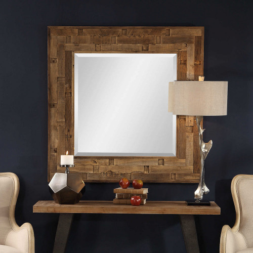 Emelin Wood Square Mirror by Uttermost