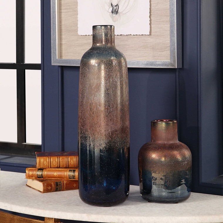 Korbin Blue Vases S/2 by Uttermost