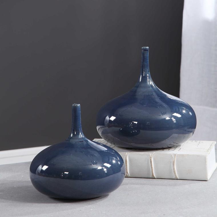 Zayan Blue Vases S/2 by Uttermost