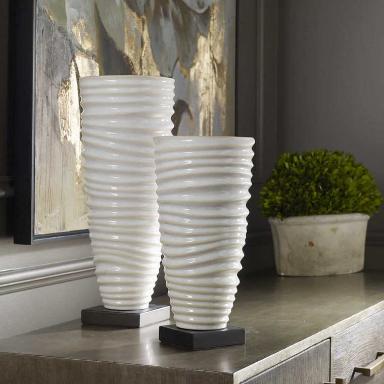 Kiera Aged White Vases S/2 by Uttermost