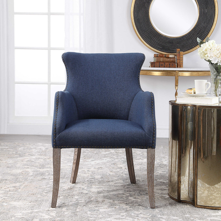 Yareena Blue Wing Chair by Uttermost